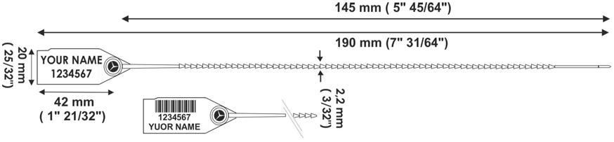 TWIGGYSEAL 190 mm sigillo plastica regolabile - disegno tecnico