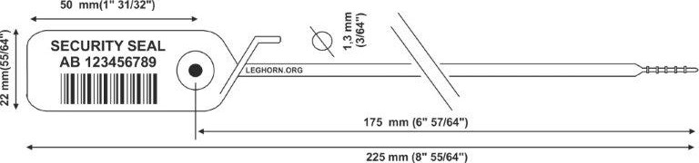 juppiter Adjustable security seal 1.3x225 mm pollici