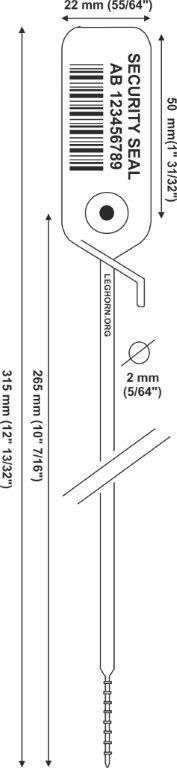 juppiter Adjustable security seal 2x315 mm e pollici